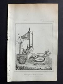 L'Univers C1850 Antique Print. Chinese War Chariot & Soldiers, China 05